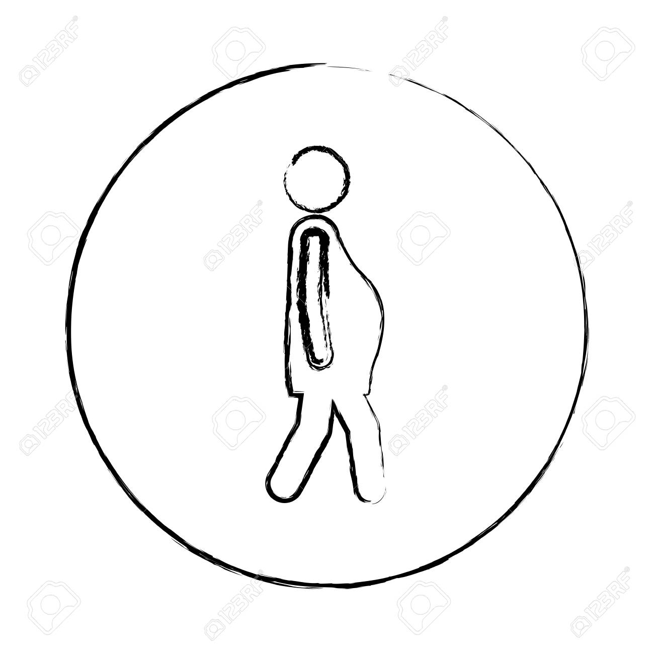 1300x1300 Blurred Circular Frame Silhouette Pictogram Woman Pregnant Walking