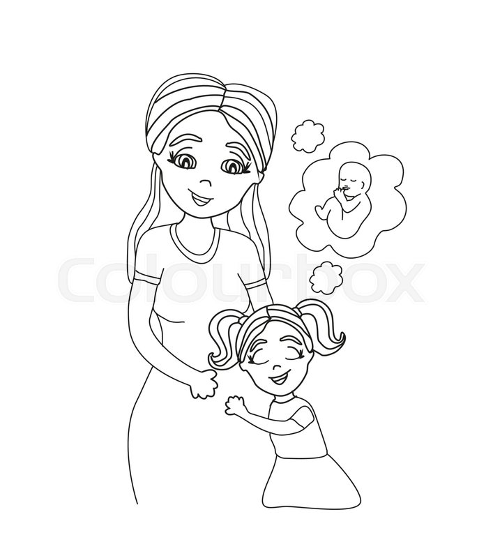 707x800 Happy Kid Girl Hugging Pregnant Mother's Belly Stock Vector