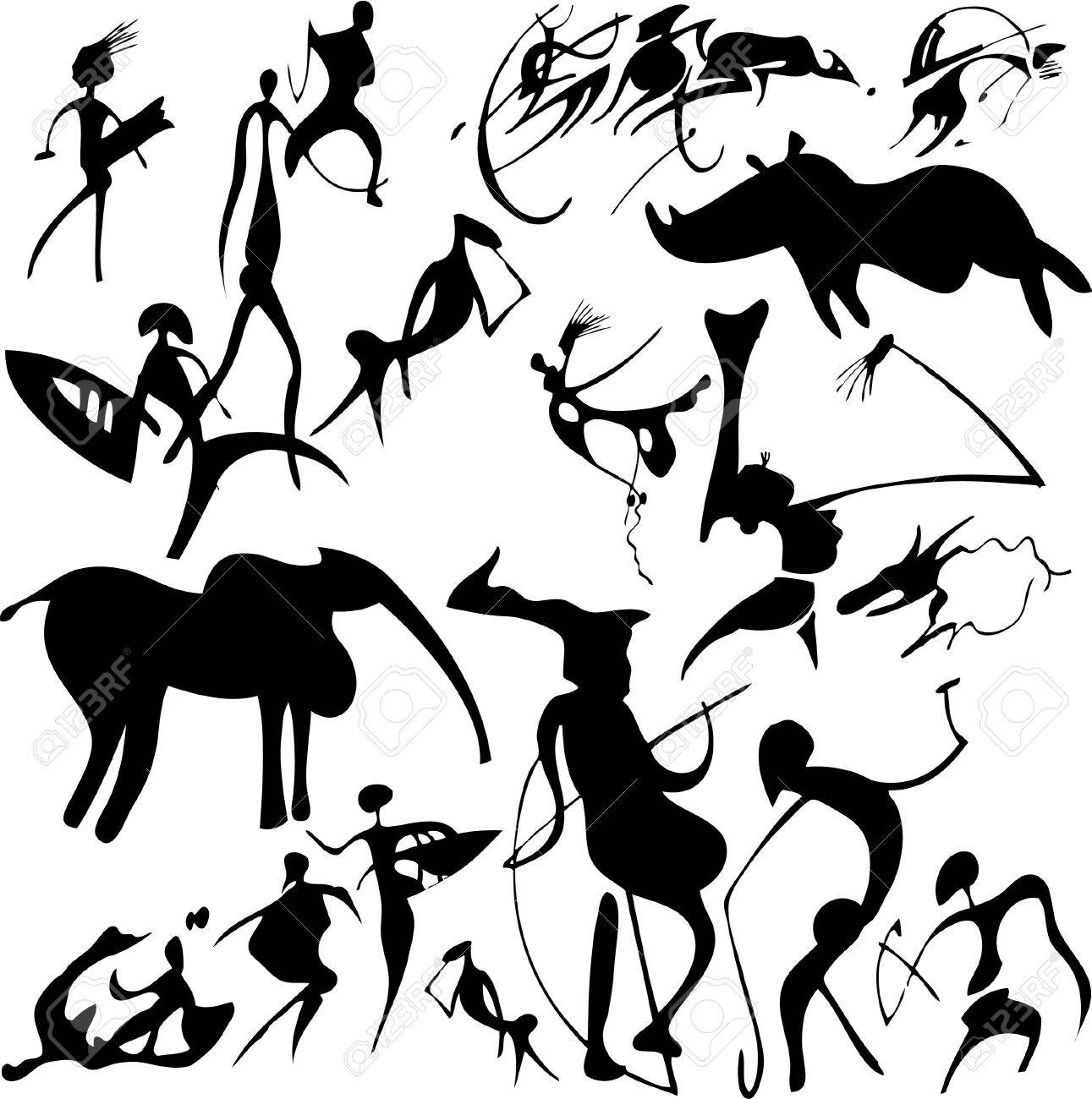 1291x1300 Cave Painting On A White Background. Vector Art Illustration