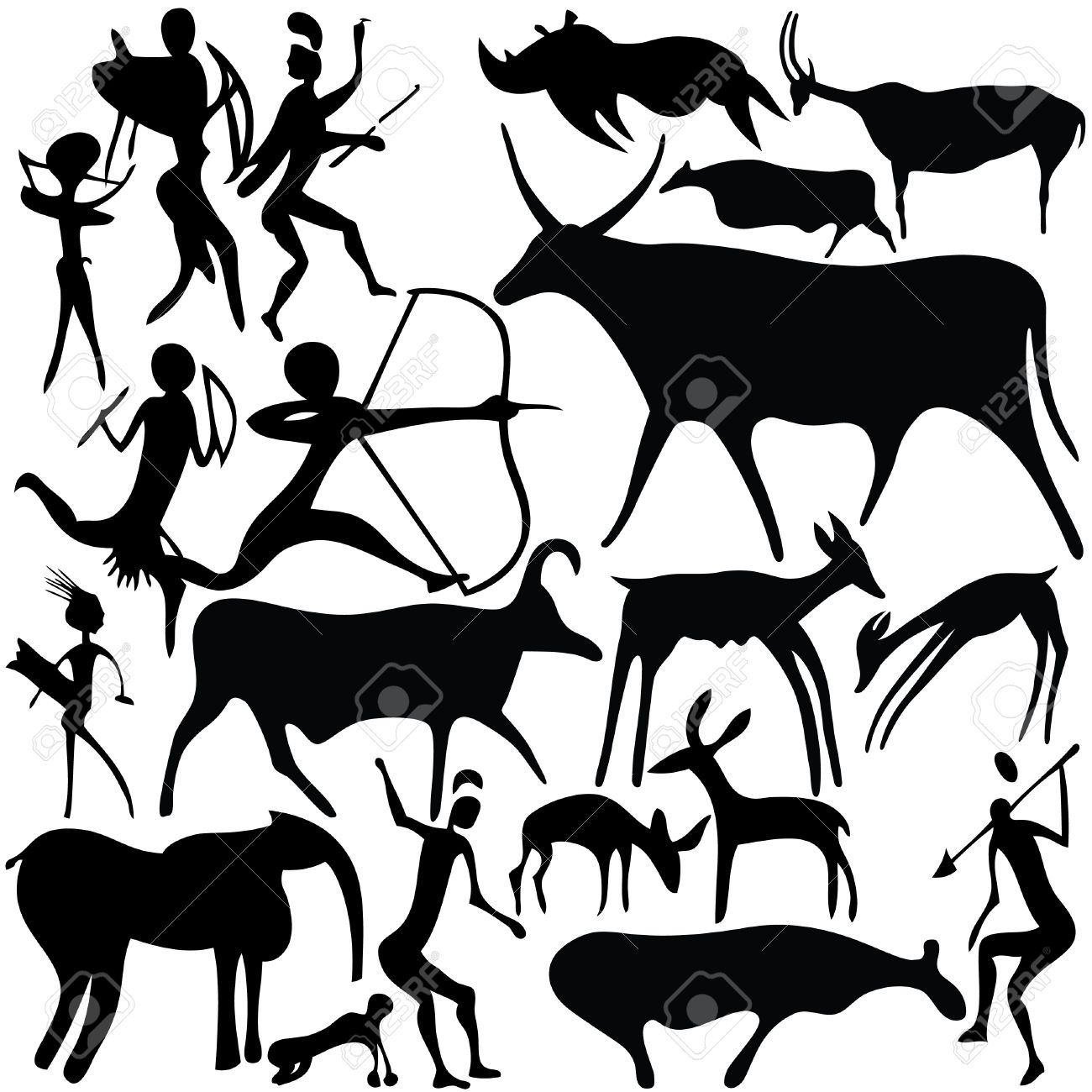 1300x1300 Cave Painting Royalty Free Cliparts, Vectors, And Stock