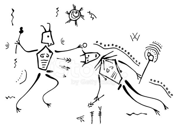 603x439 Prehistoric Cave Painting Shaman Combat Stock Vector