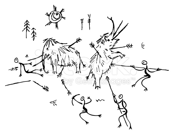 556x436 A Prehistoric Cave Painting Depicting The Hunting Of Mammoths