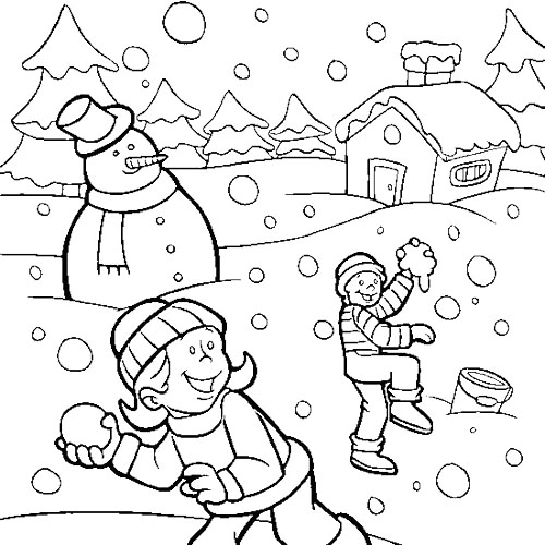 500x500 Children Playing Snow In Winter Coloring Page Winter