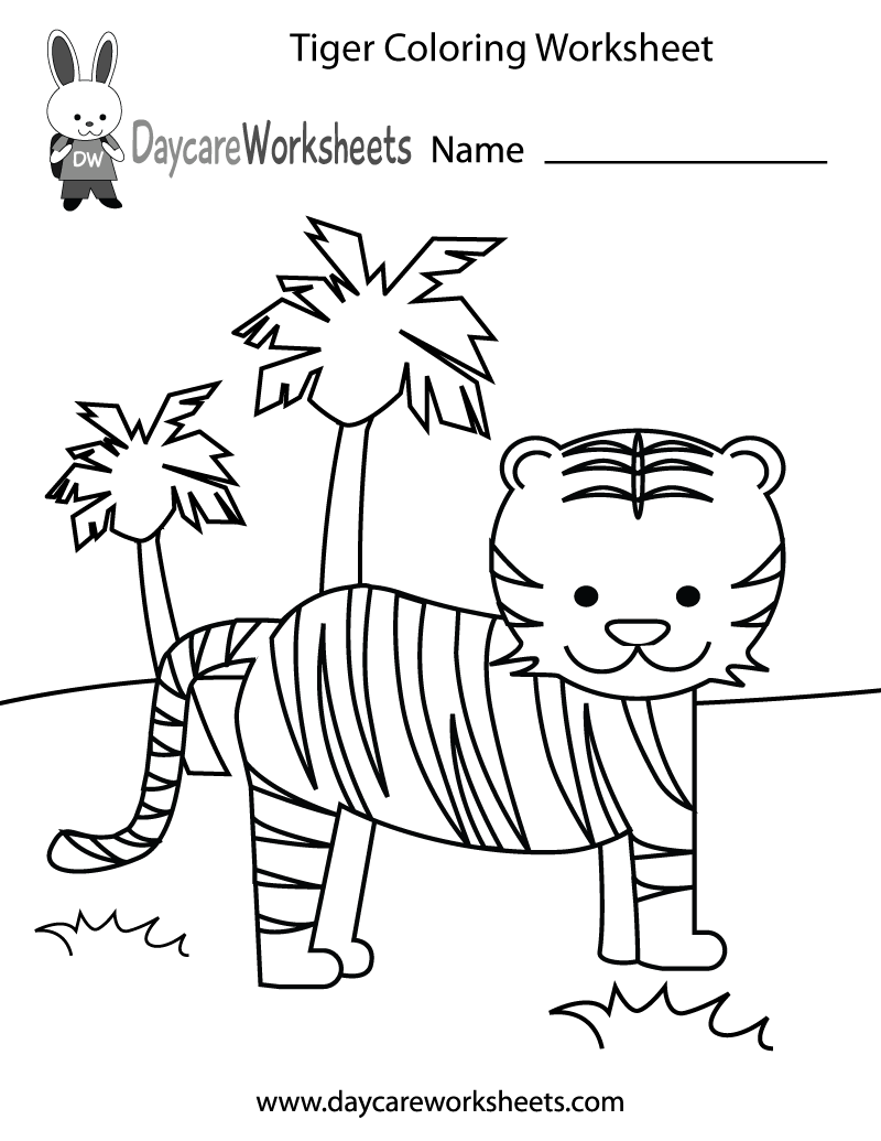 800x1035 Free Preschool Tiger Coloring Worksheet