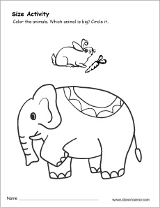 230x298 Sizes, Big And Small Activity Worksheet For Preschool Children