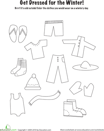 350x440 Winter Clothes Coloring Page Worksheets, Winter And School