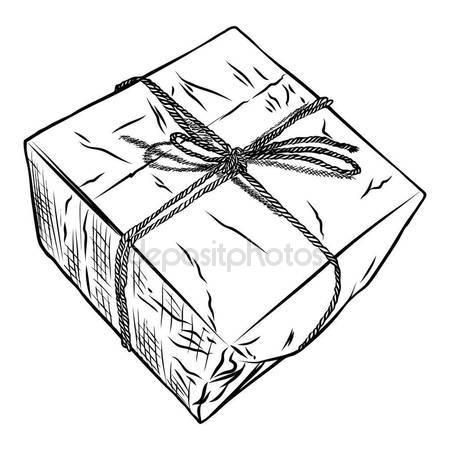 450x450 Gift Box Doodle Sketch. Stock Vector Goldenshrimp