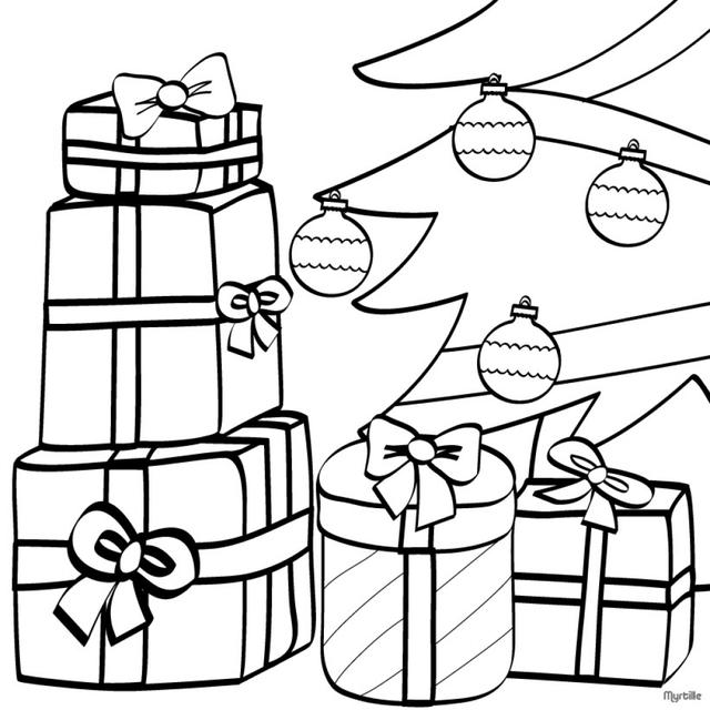 640x640 Christmas Tree With Presents Drawing Christmas Tree Sketches Az