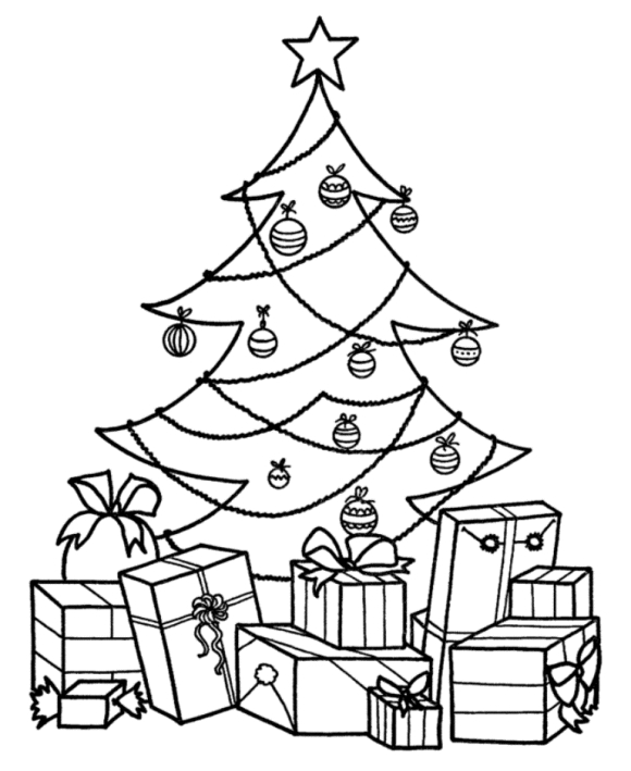580x709 Christmas Tree With Presents Drawing Home Design And Decorating