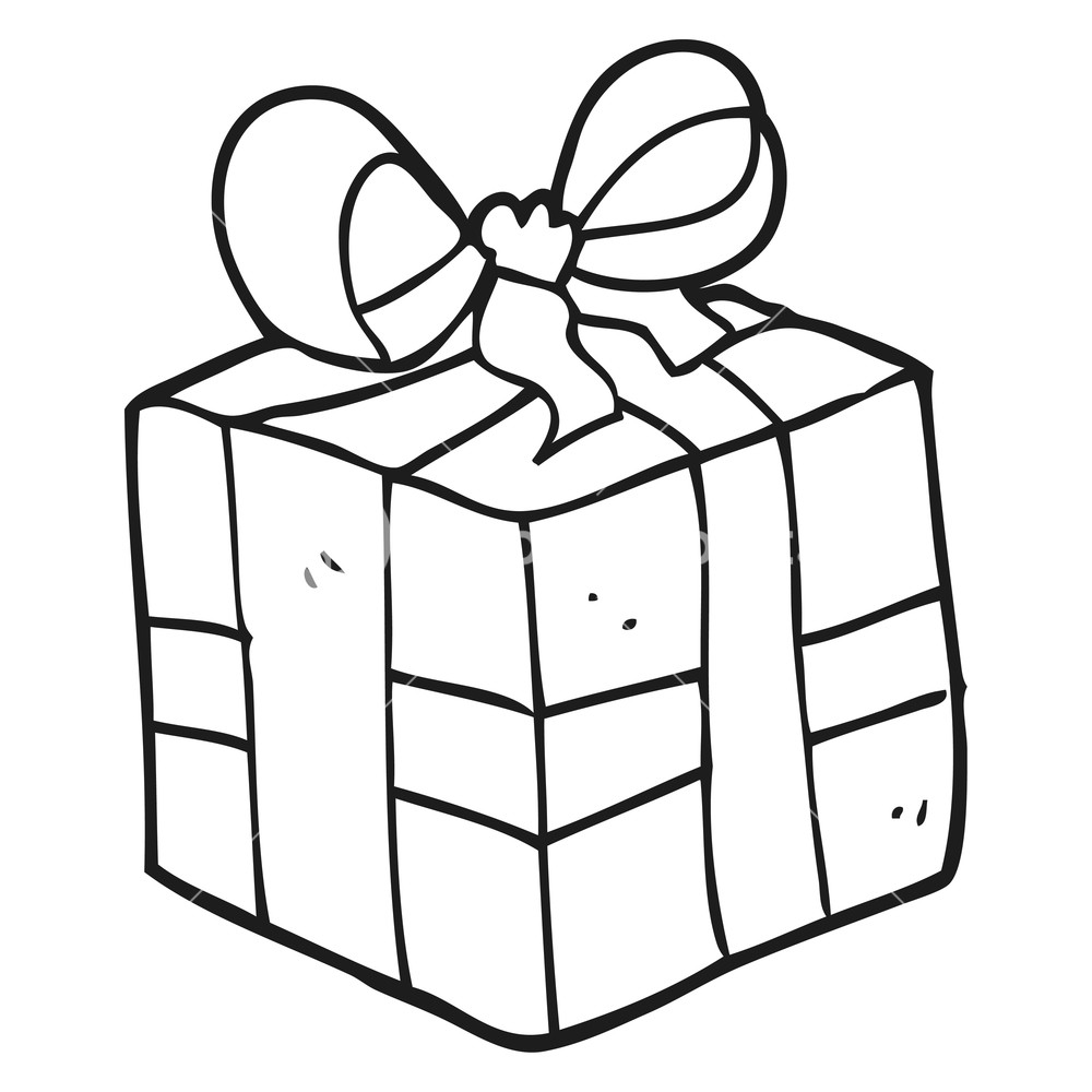 1000x1000 Freehand Drawn Black And White Cartoon Christmas Present Royalty