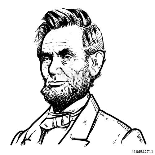 500x500 Abraham Lincoln Vector Illustration, Abraham Lincoln Drawing