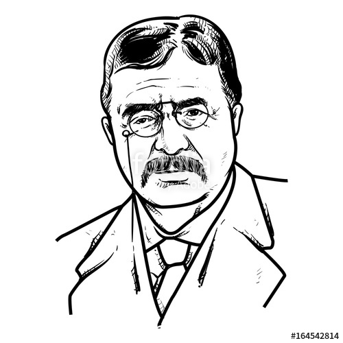 500x500 Theodore Roosevelt Vector Illustration, Theodore Roosevelt Drawing