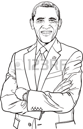290x450 Drawing The United States President Obama Stock Photo, Picture