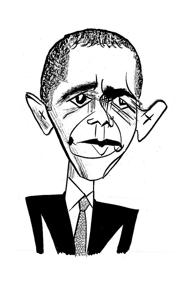606x900 Obama Suit Amp Tie Drawing By Tom Bachtell