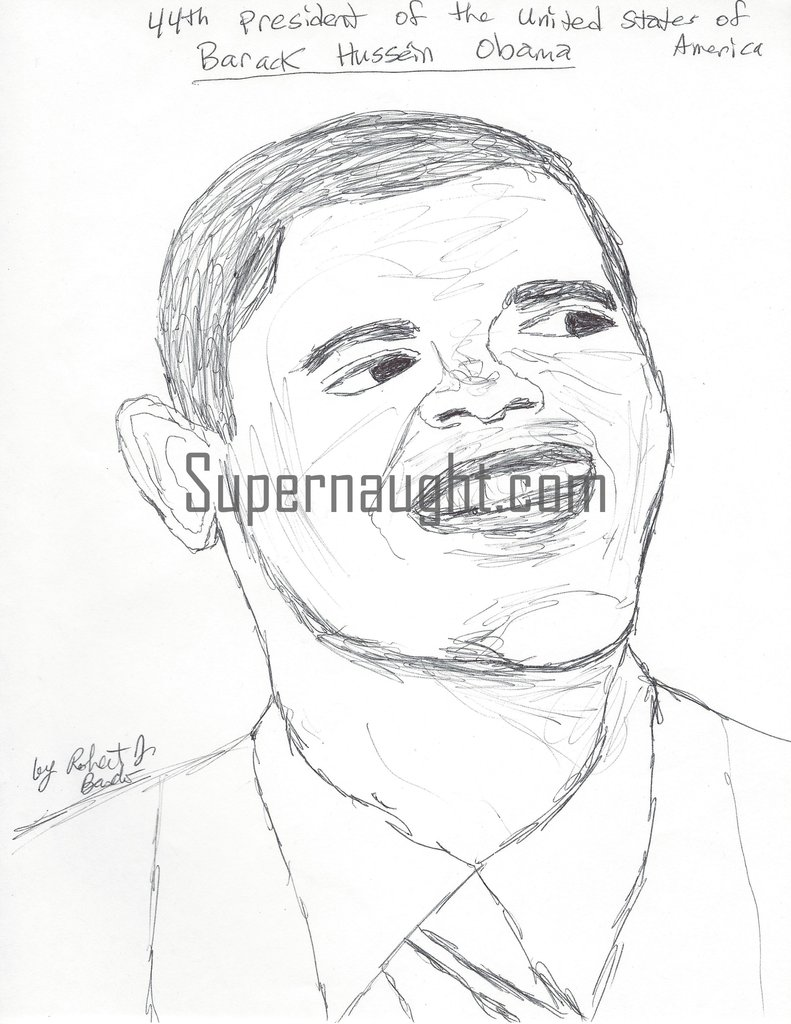 791x1024 Robert Bardo President Barack Obama Drawing Signed Supernaught