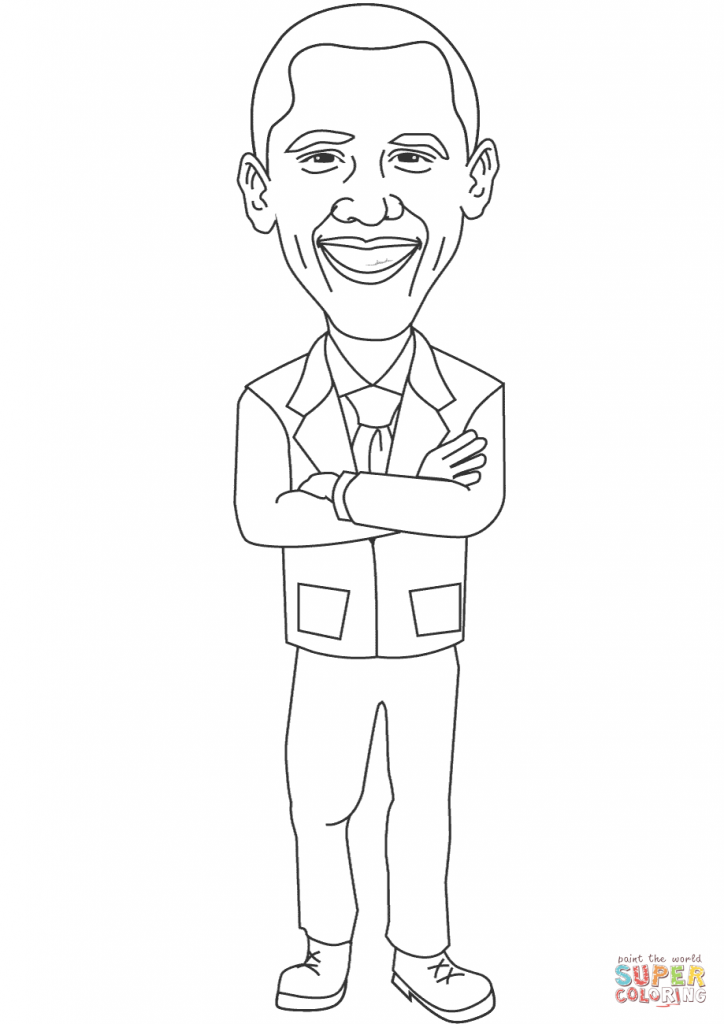 724x1024 Smiling Barack Obama Coloring Page Free Printable Coloring Pages