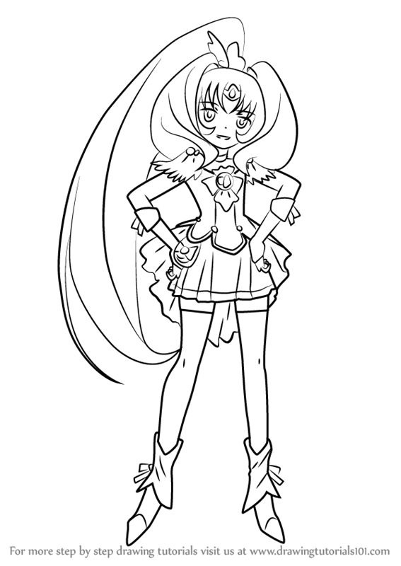 567x800 Learn How To Draw Cure March From Pretty Cure (Pretty Cure) Step