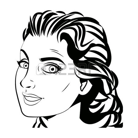450x450 Pretty Face Woman Hairstyle Comic Vector Illustration Royalty Free