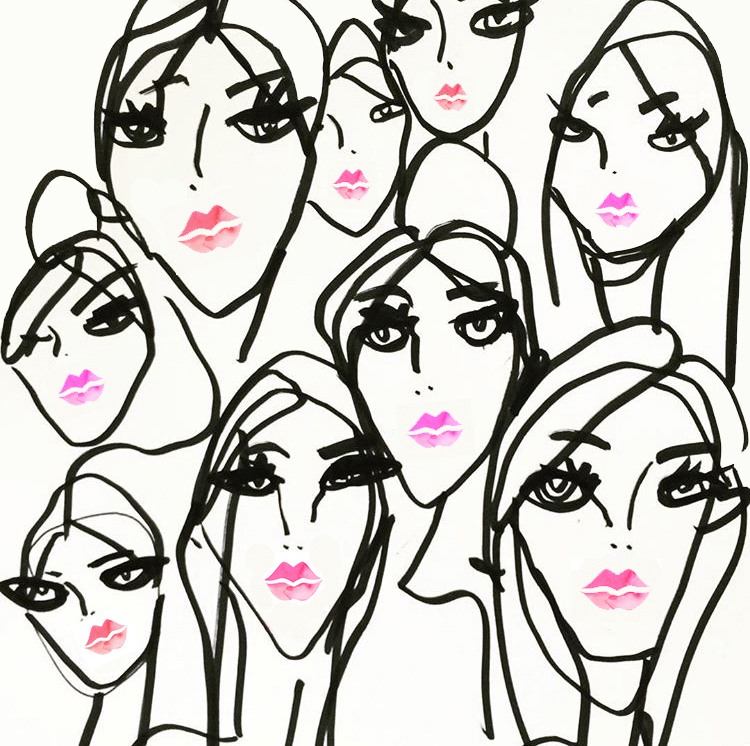 750x746 So Many Pretty Faces With Bright Pink Lip Color In This Fashion