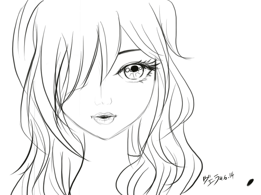 1024x768 Anime Girl Face Drawing Close Up Girl's Face. Sketch