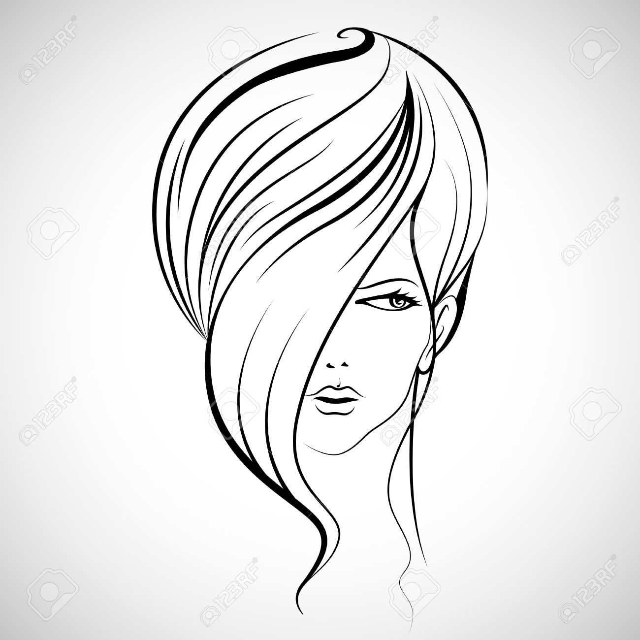 1300x1300 Illustration Of Beautiful Lady In With Hairstyle Royalty Free