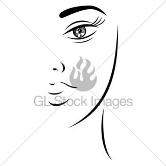 325x325 Line Drawing Beautiful Woman Face Gl Stock Images