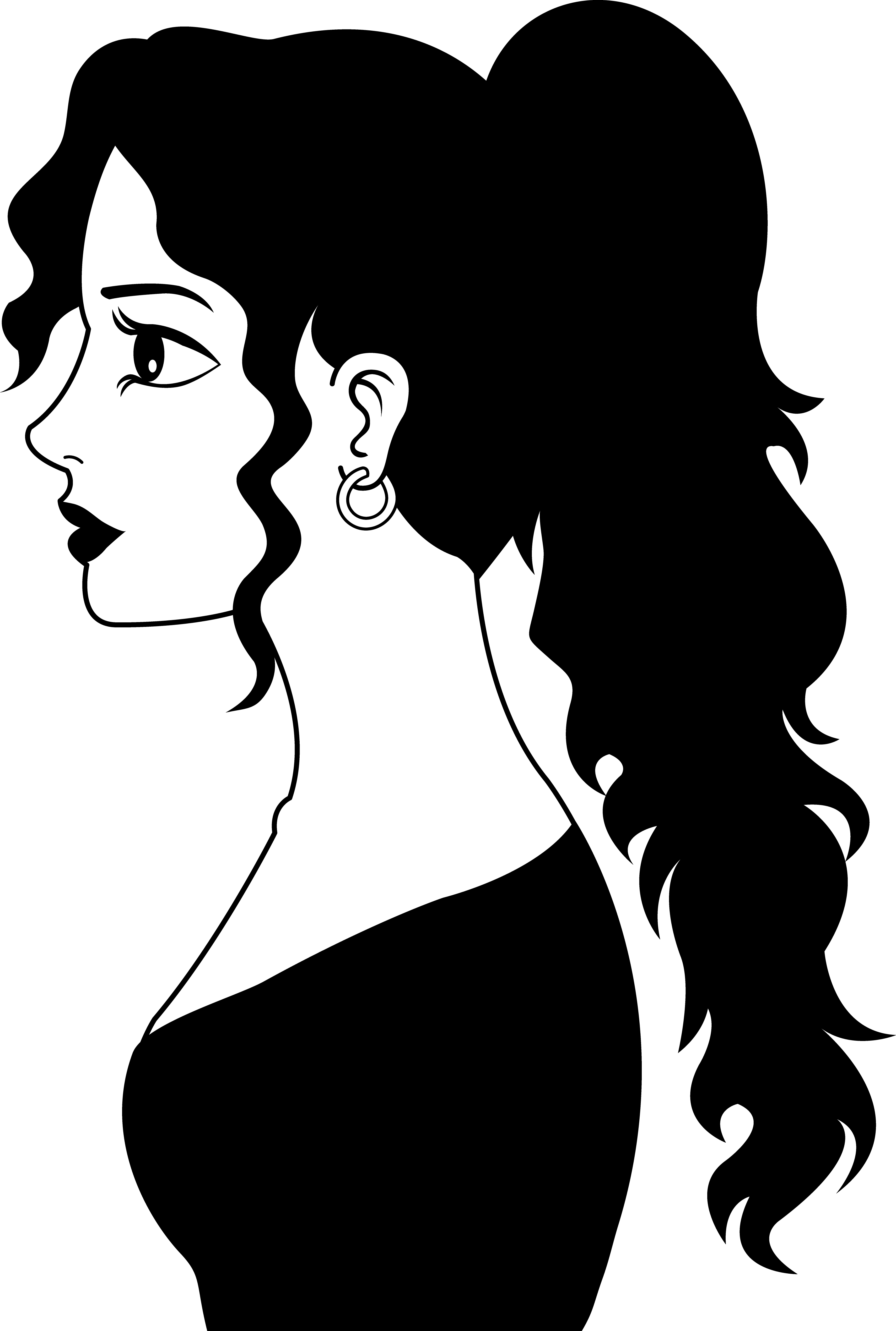 3750x5567 Profile Of A Woman In Black And White