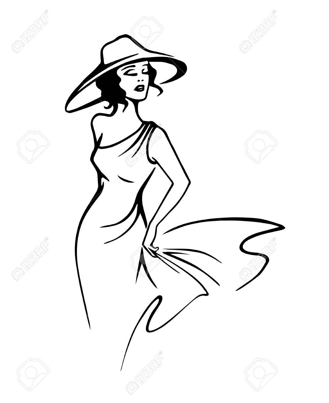 1061x1300 Silhouette Of Beautiful Woman In Hat In Outline Style Vector