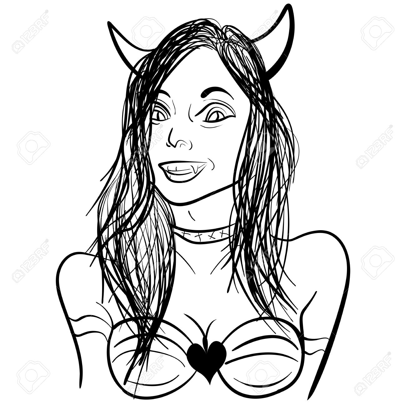 1300x1300 Cartoon Coloring Book Hand Drawn Illustration Of Pretty Demon