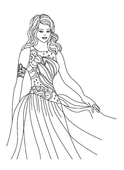 518x708 Pretty Princess In Beautiful Gown Coloring Pages