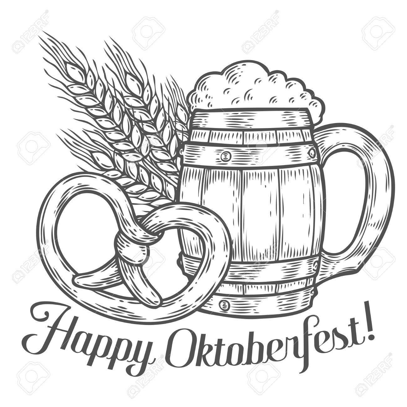 1300x1300 Wooden Craft Beer Mug, Pretzel, Wheat. Happy Oktoberfest. Black