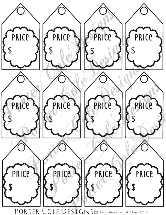570x738 Price Tags Printable Digital File Filing, Digital And Etsy