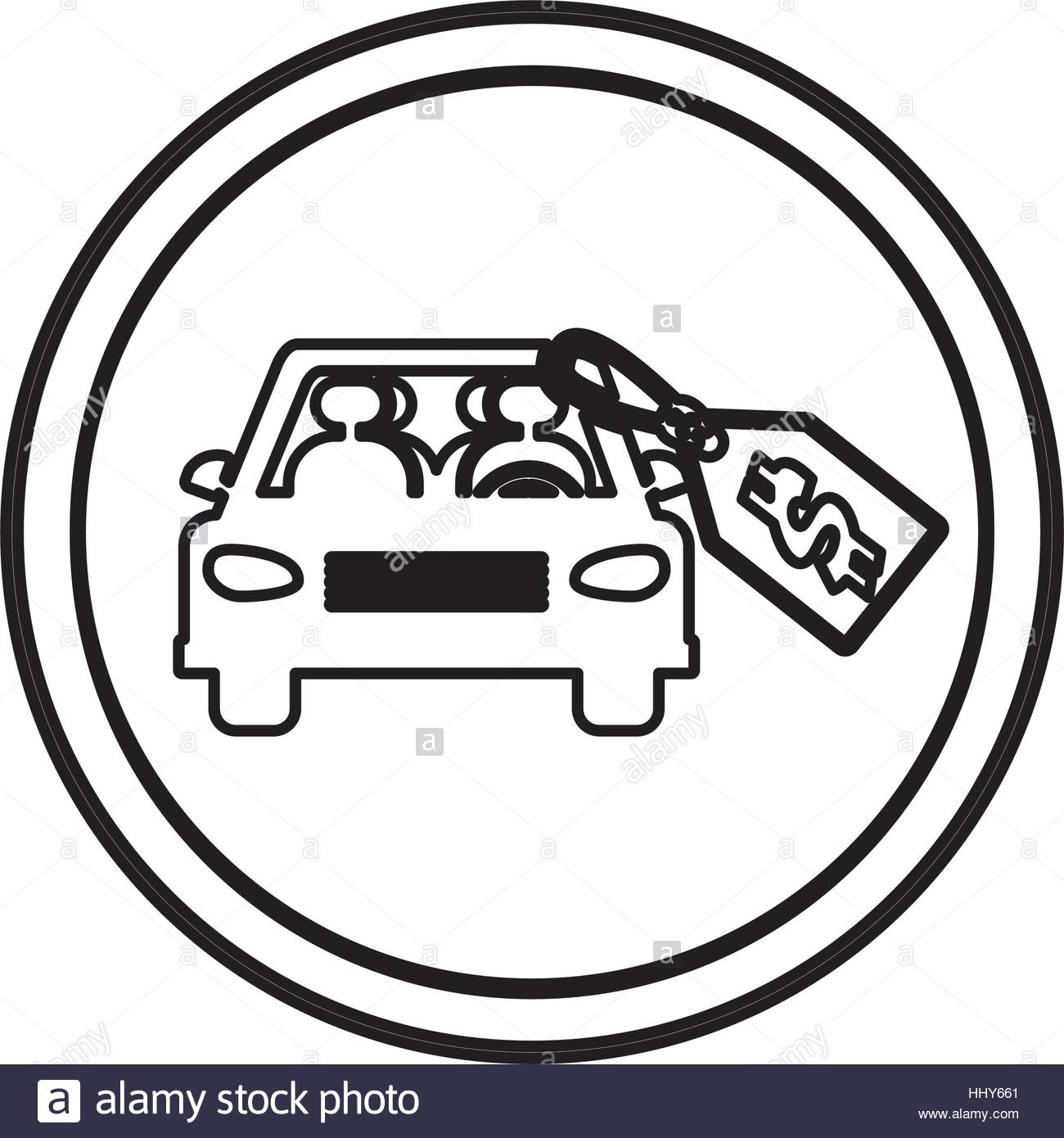 1300x1390 Silhouette Circular Border With Car And Price Tag Dollar Vector