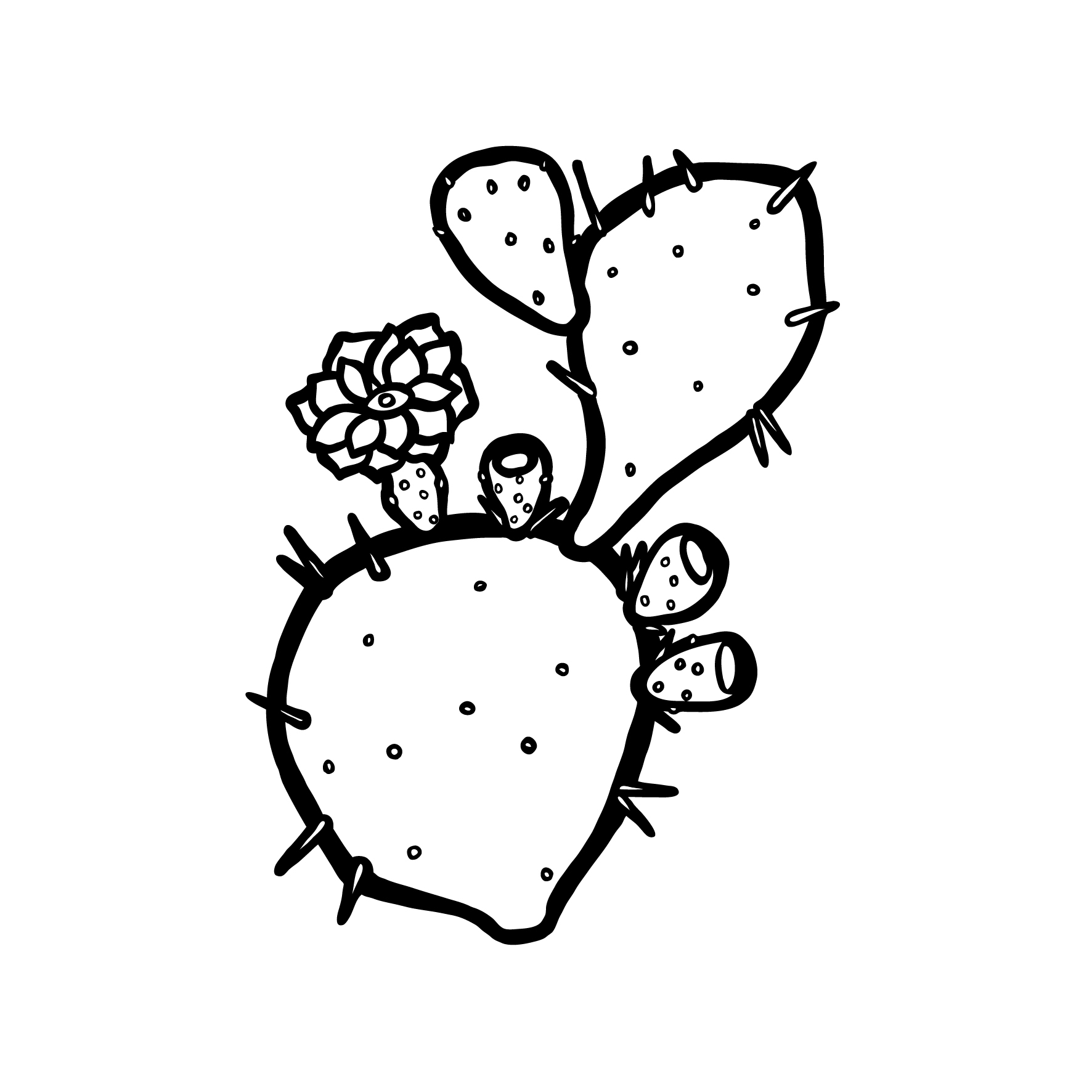 1772x1772 Prickly Pear Cactus Opuntia Painting