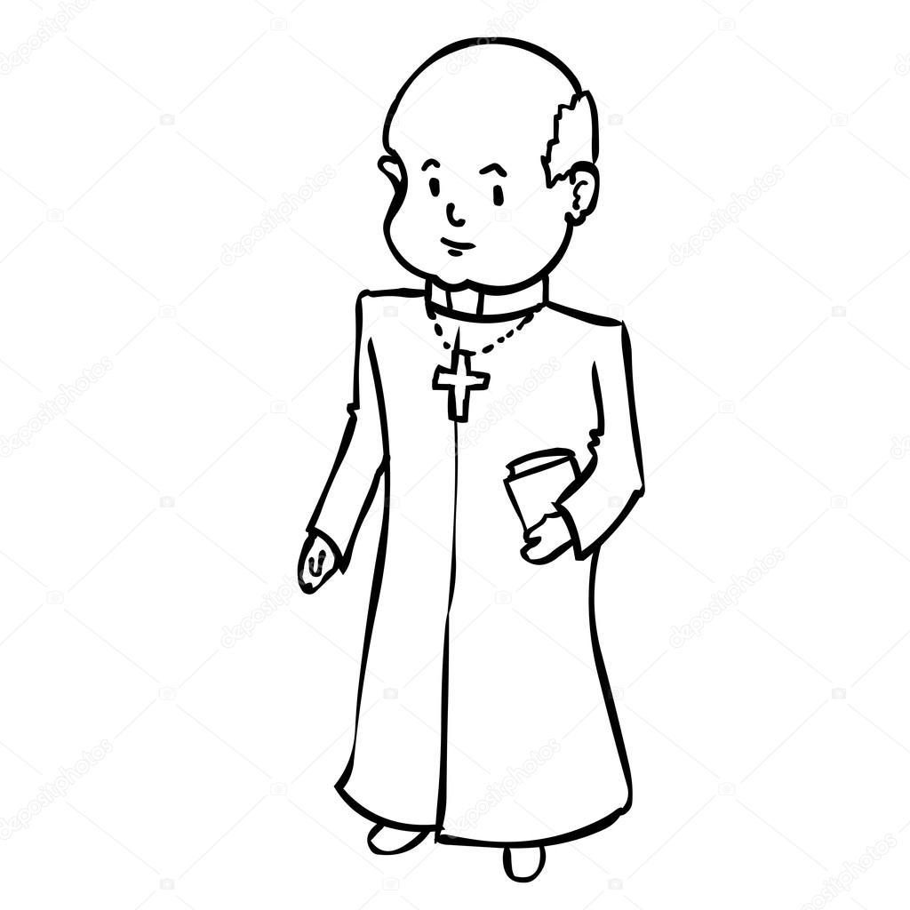 1024x1024 Cute Catholic Priest. Stock Vector Dergriza
