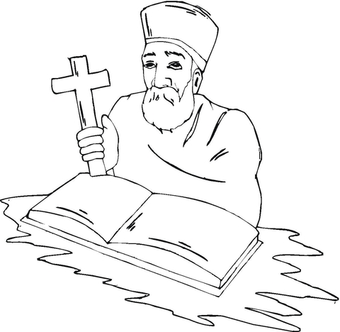 480x468 Priest With Cross Coloring Page Free Printable Coloring Pages
