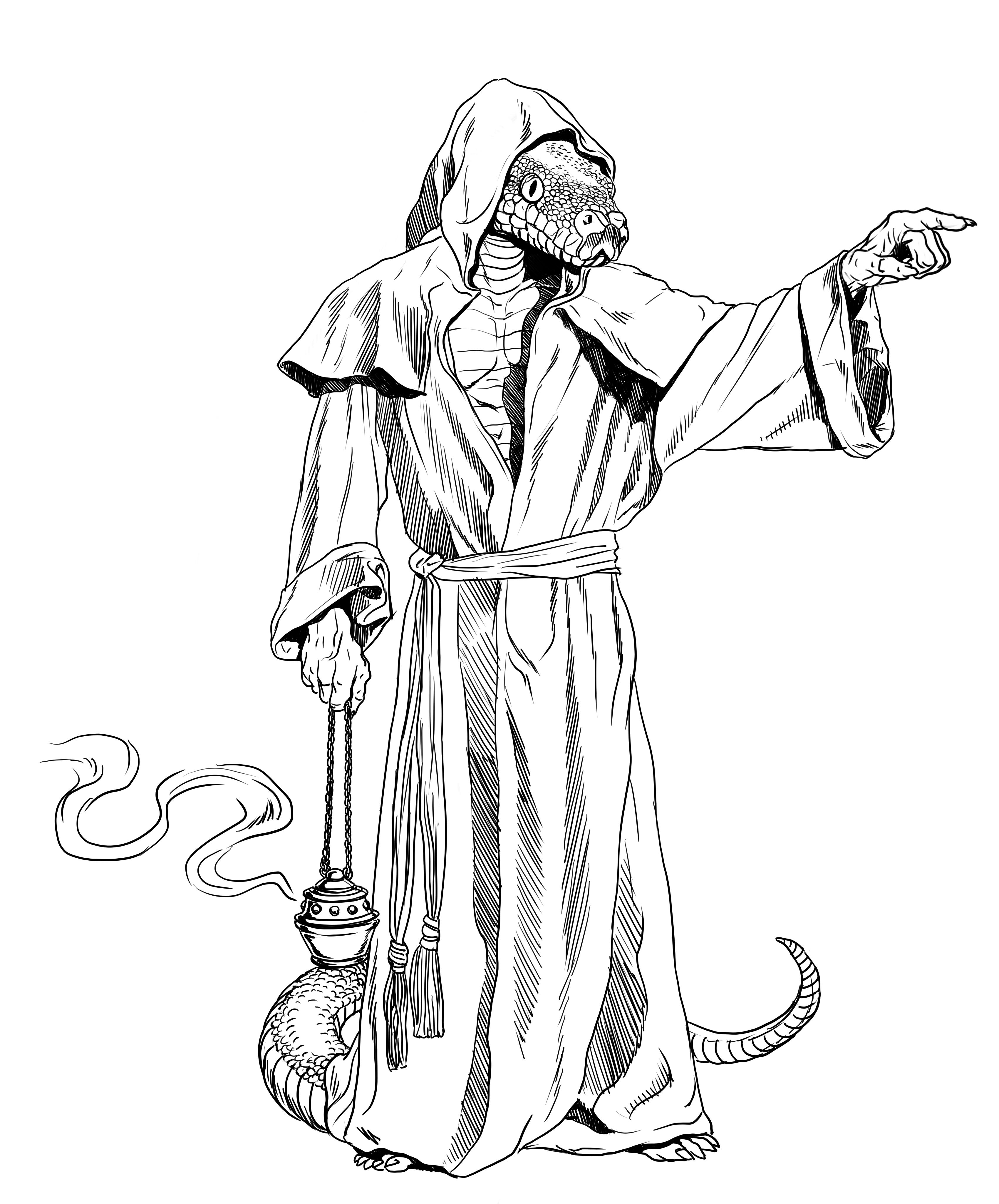 3400x4096 Serpentfolk Priest By Solidtom
