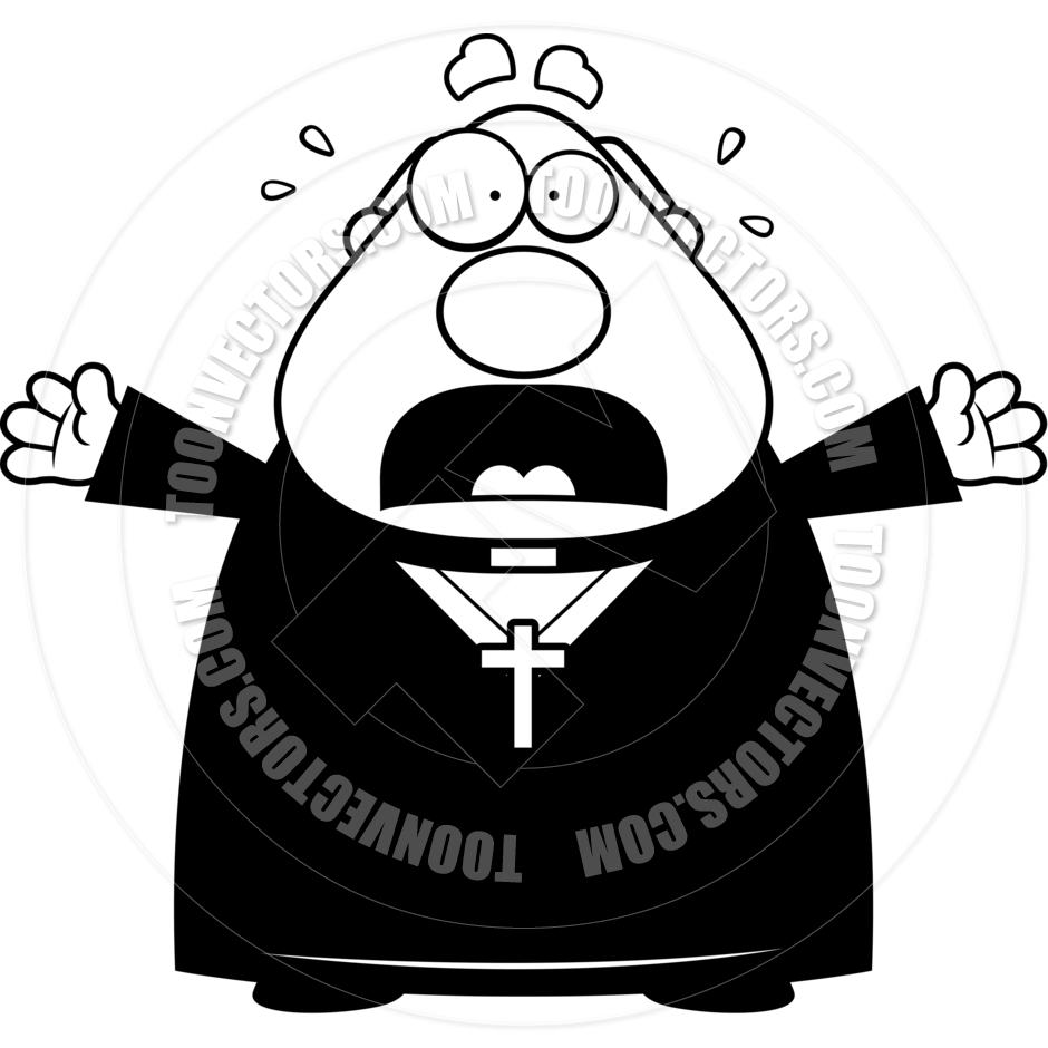 940x940 Cartoon Priest Scared (Black And White Line Art) By Cory Thoman