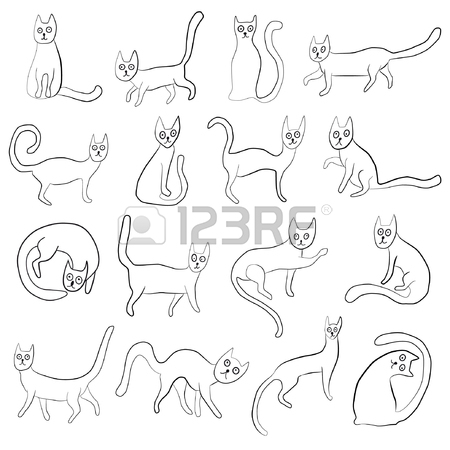 450x450 Set Of Odd Funny Primitive Style Cats. Freehand Drawing, Line