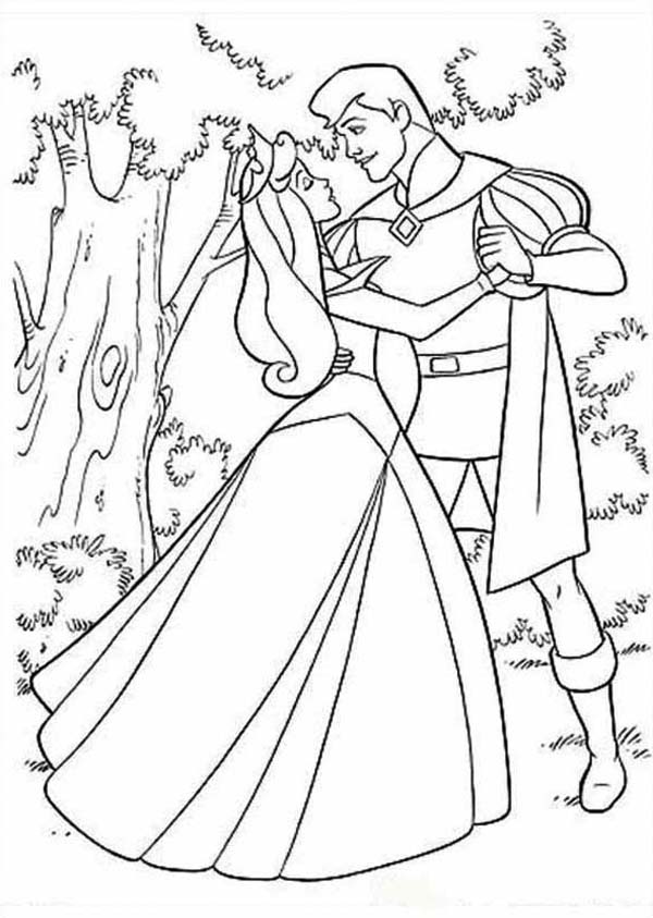 600x843 Princess Aurora Dancing With Prince Phillip Coloring Pages Even