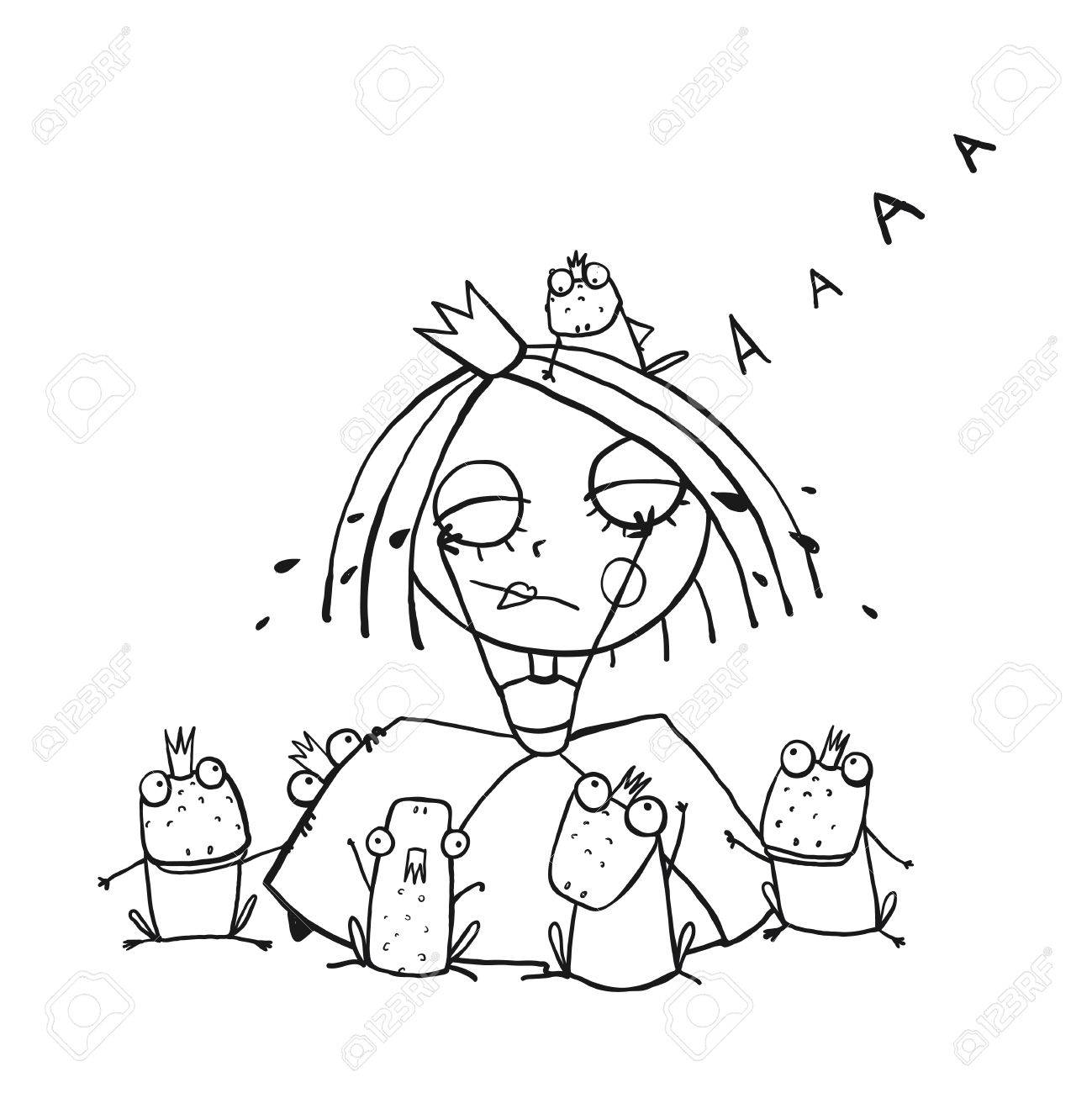 1299x1300 Princess Crying And Many Prince Frogs Coloring Page Outline