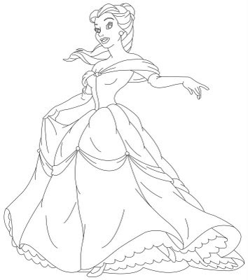 354x400 Disney Princess Belle And Her Gown Coloring Sheet Cartoon
