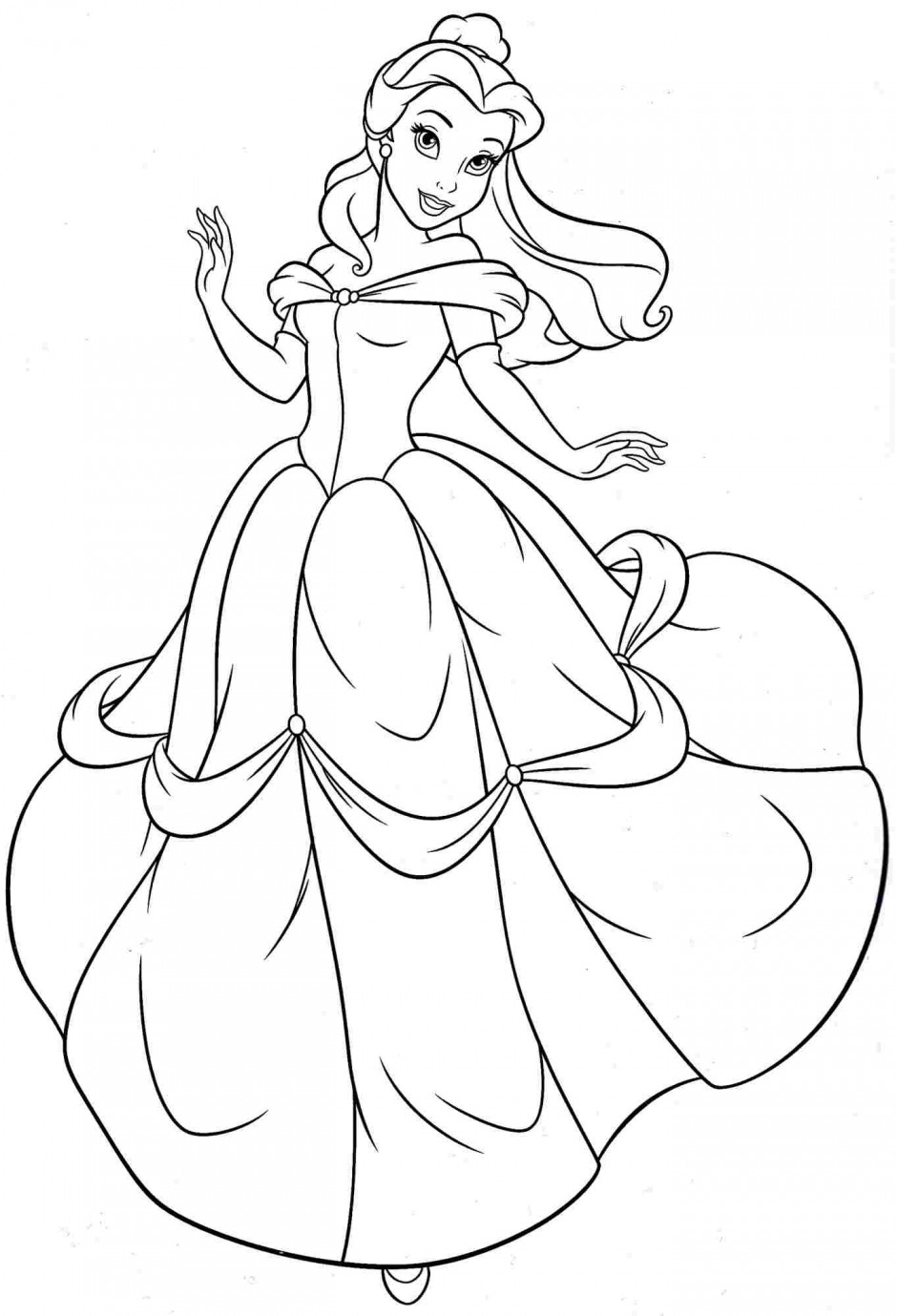 940x1379 Princess Belle Coloring Pages To Print Preschool For Pretty Draw