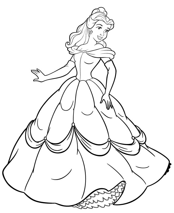670x818 Princess Belle Colouring Pages Print Disney Princesses Colouring