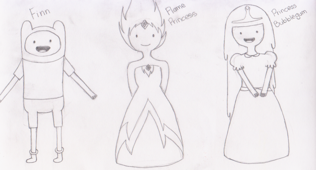 1024x552 Finn,flame Princess And Princess Bubblegum Drawing By