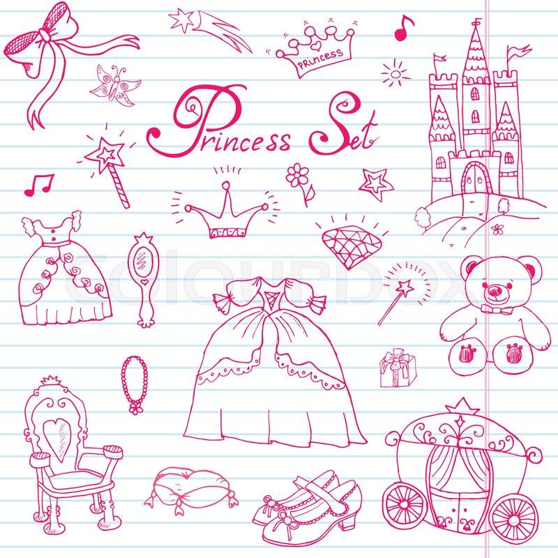 800x800 Hand Drawn Vector Illustration Set Of Princess Sign, Castle