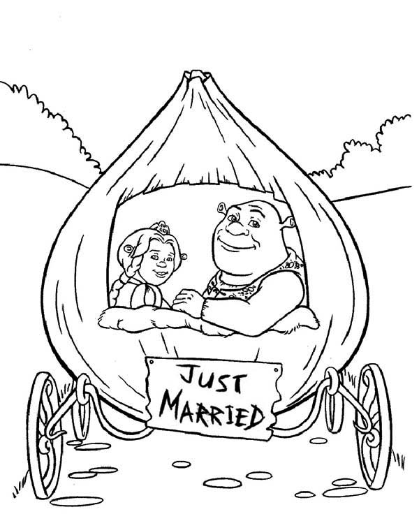 600x746 Shrek And Princess Fiona In Onion Carriage They Were Just Married