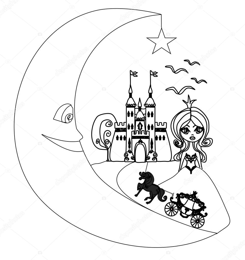 963x1024 Medieval Castle,princess, Carriage And The Moon
