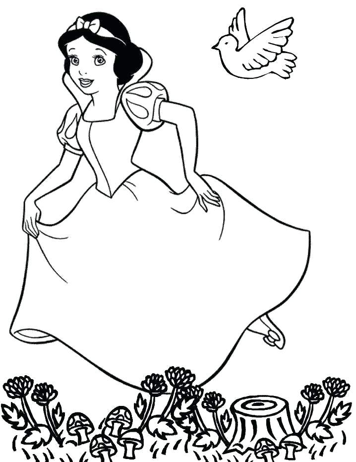 718x931 Coloring Book Cartoon Characters Together With Snow White
