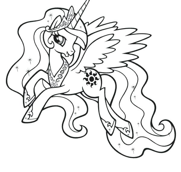 600x570 My Little Pony Coloring Pages Princess Celestia My Little Pony